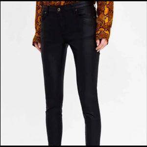 Zara Womens Black Coated Premiem Slim Fit Skinny Leg Pants Sz 6